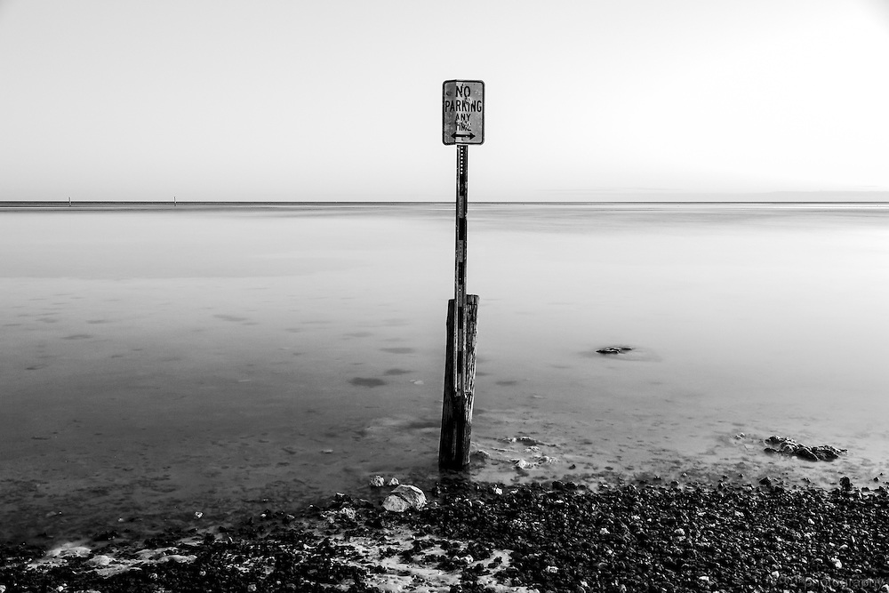 No Parking sign submerged in the Florida Keys.