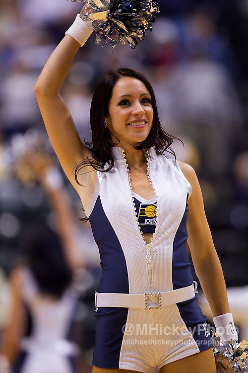 Nov. 16, 2010; Indianapolis, IN, USA; An Indiana Pacers Pacemate is seen on the court during a break in action against the Atlanta Hawks at Conseco Fieldhouse. Atlanta defeated Indiana 102-92. Mandatory credit: Michael Hickey-US PRESSWIRE