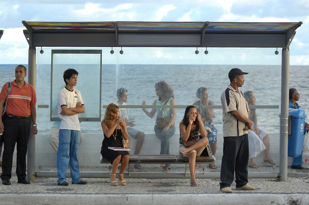 Bus stop at ocean, Salvador, Bahia, Brazil