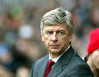 Photo. Chris Ratcliffe, Digitalsport<br /> Arsenal v Stoke City. FA Cup Third Round. <br /> 09/01/2005<br /> Arsene Wenger watches his team struggle against Stoke.