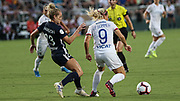 North Carolina Courage forward Kristen Hamilton (23) looks to tackle Olympique Lyonnais forward Eugenie Le Sommer (9)  during an International Champions Cup women's soccer game, Sunday, Aug. 18, 2019, in Cary, Olympique Lyonnais bested the North Carolina Courage 1-0 in the finals.  (Brian Villanueva/Image of Sport)