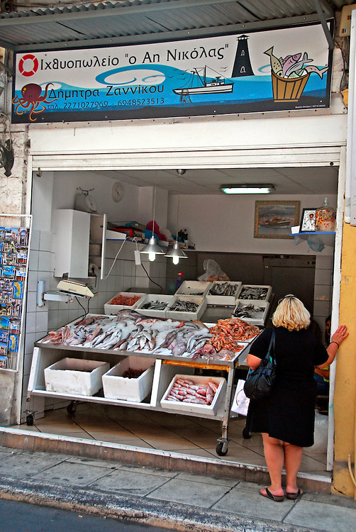 Fish market in the town of Chios, Chios island, Greece.
