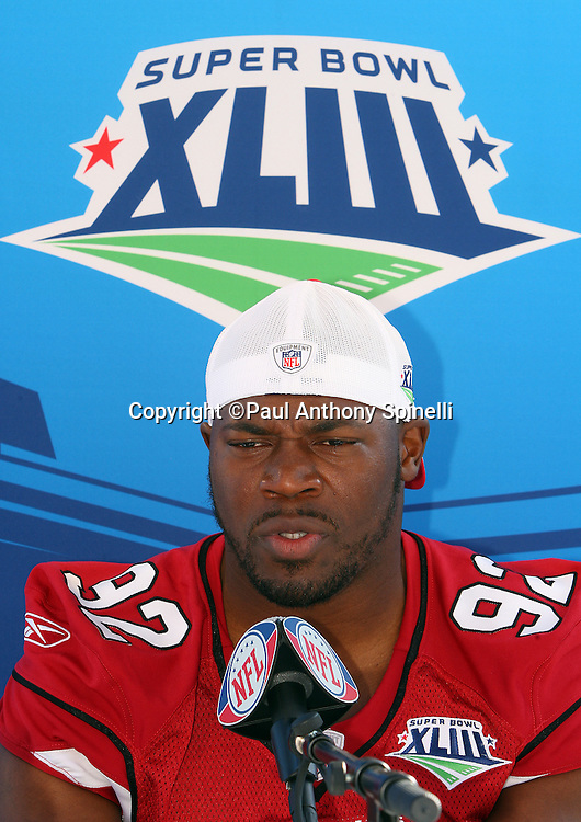 TAMPA, FL - JANUARY 27: Defensive end Bertrand Berry #92 of the NFC Arizona Cardinals speaks to the media during Super Bowl XLIII Media Day at Raymond James Stadium on January 27, 2009 in Tampa, Florida. ©Paul Anthony Spinelli *** Local Caption *** Bertrand Berry