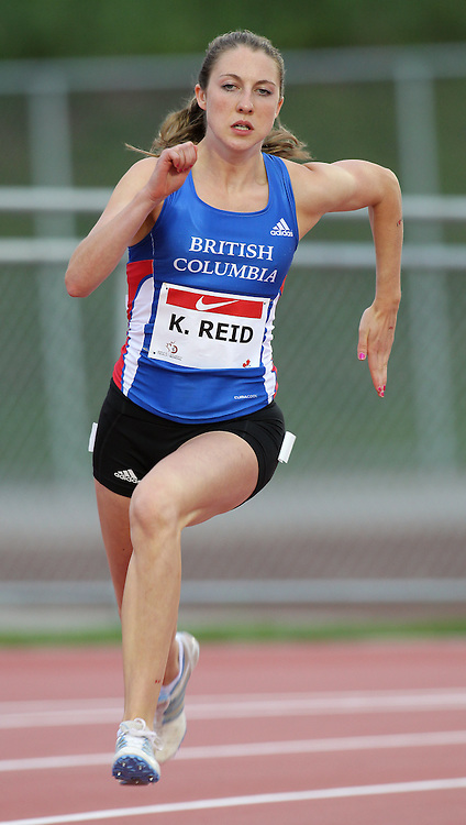 (Moncton,  New Brunswick) --- 2010 Canadian Junior Track and Field Championships - July 2nd to 4th,2010, Moncton, New Bruinswick ---.Katie Reid 200m 002_0710CA.jpg at the 2010 Canadian Junior Track and Field championships in Moncton, New Brunswick July 04 ,  2010)... Photograph copyright Claus Andersen / Mundo Sport Images, 2010.