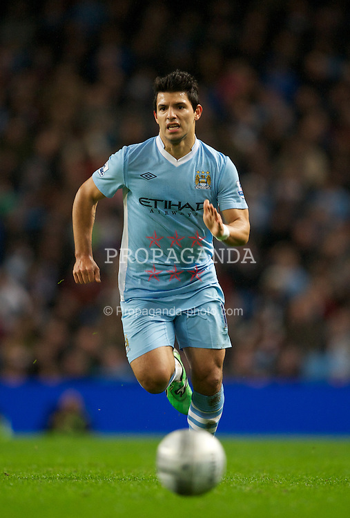 MANCHESTER, ENGLAND - Wednesday, January 11, 2012: Manchester City's Sergio Aguero in action against Liverpool during the Football League Cup Semi-Final 1st Leg at the City of Manchester Stadium. (Pic by David Rawcliffe/Propaganda)