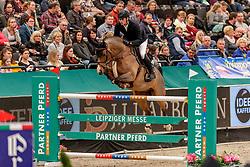 WOLF Cedric (GER), Louisville<br /> Leipzig - Partner Pferd 2020<br /> IDEE Kaffee-Preis<br /> Springprfg. nach Fehlern und Zeit, int.<br /> 17. Januar 2020<br /> © www.sportfotos-lafrentz.de/Stefan Lafrentz