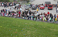 Parents and kids wait for the start of the Church Easter Egg Hunt at Hillside Wesleyan Church, 2600 1st Ave NW, in Cedar Rapids on Saturday morning, March 31, 2012. This year there were over 7,500 eggs up for grabs. (Stephen Mally/Freelance)