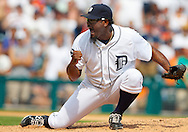 July 03, 2011; Detroit, MI, USA; Detroit Tigers relief pitcher Jose Valverde (46) celebrates the last out against the San Francisco Giants at Comerica Park. Detroit won 6-3.
