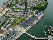 Nederland, Zuid-Holland, Rotterdam, 14-05-2020; Rotterdam-Zuid met zicht op Katendrecht (De Kaap) met de Fenix-loodsen (voorheen Fenix Food Factory- toekomstig Landverhuizersmuseum). <br /> Rotterdam South with Katendrecht with  Fenix warehouses (formerly Fenix Food Factory - future Land Mover Museum). <br /> <br /> luchtfoto (toeslag op standard tarieven);<br /> aerial photo (additional fee required)<br /> copyright © 2020 foto/photo Siebe Swart