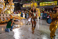 Saturday night at the Sambodromo, the first night of Carnival. Tonight the Schools of Samba of Group A are presenting, schools that are lesser known than those in the Special Group.<br /> <br /> Presentation of the Paraiso de Tuluti Samba School.