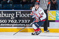 KELOWNA, CANADA - OCTOBER 31: Ryley Lindgren #16 of Lethbridge Hurricanes skates against the Kelowna Rockets on October 31, 2015 at Prospera Place in Kelowna, British Columbia, Canada.  (Photo by Marissa Baecker/Shoot the Breeze)  *** Local Caption *** Ryley Lindgren;