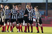 Kyler Van Toom is congratulated after scoring a 25 yarder to put Baldragon 2-0 ahead -  Baldragon v St.John's in the U14 Urquhart Trophy Final (sponsored by DSA) at Dens Park, Dundee<br /> <br /> <br />  - &copy; David Young - www.davidyoungphoto.co.uk - email: davidyoungphoto@gmail.com
