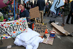 © Licensed to London News Pictures. 17/04/2019. London, UK. Environmental activists on day three of their ongoing protest camps at the junction of Oxford Street and Regents Street demanding decisive action from the UK Government on the environmental crisis. Photo credit: Dinendra Haria/LNP