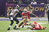 3 February 2013: Running back (21) Frank Gore of the San Francisco 49ers runs the ball against the Baltimore Ravens during the second half of the Ravens 34-31 victory over the 49ers in Superbowl XLVII at the Mercedes-Benz Superdome in New Orleans, LA.