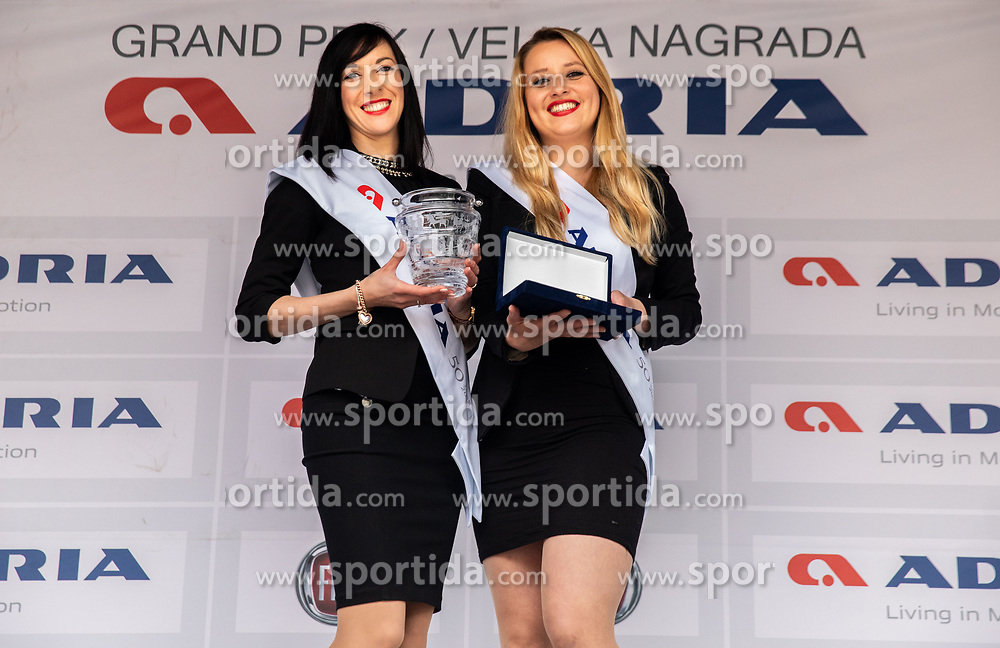 Hostess posing prior to the Trophy ceremony after the cycling race 5th Grand Prix Adria Mobil, on April 7, 2019, in Slovenia. Photo by Vid Ponikvar / Sportida