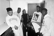West London crew Construction (J 1 the Ace DJ Bunny Bread MC Rage) with the Construction dancers, London, UK, 1989