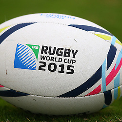 DURBAN, SOUTH AFRICA - SEPTEMBER 01: GV RWC Ball during the South African national rugby team training session at Peoples Park on September 01, 2015 in Durban, South Africa. (Photo by Steve Haag/Gallo Images)