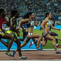 Athletes compete in Women's 100M final A at Nanjing Olympic Sports Centre Stadium during Nanjing Youth Olympic Games  2014 in Nanjing, China, 23 August 2014. The Nanjing Youth Olympic  Games 2014 runs from from 16 to 28 August  2014.
