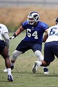 Los Angeles Rams rookie offensive guard Jamil Demby (64), a 6th round pick in the 2018 NFL draft, blocks during the Los Angeles Rams NFL football camp on Monday, June 4, 2018 in Thousand Oaks, Calif. (©Paul Anthony Spinelli)