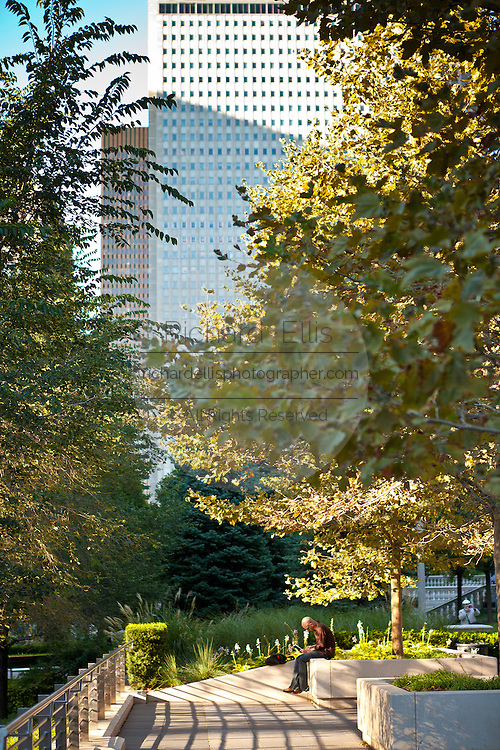 Quiet corner in Millennium Park in Chicago, IL, USA.