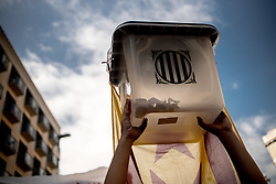 October 1, 2018 - Barcelona, Catalonia, Spain - A ballot box during a demonstration in Barcelona, Spain, on first October 2018. Students marched by Barcelona streets  to commemorate the first anniversary of the independence referendum that led hundreds of injured voters due the Spanish police crackdown. (Credit Image: © Jordi Boixareu/NurPhoto/ZUMA Press)