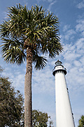 The St. Simons Lighthouse at Coupers Point along the Saint Simons Sound in St. Simons Island, Georgia. The working lighthouse was built in first constructed in 1807 but destroyed by Confederate forces in 1862 before being rebuilt in 1872.