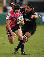 Picture by Steven Hadlow/Focus Images Josh Afu of Newcastle Falcons and Leigh Halfpenny of Cardiff Blues during their Amlin Challenge Cup quarter-final match.
