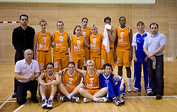 Group photo of Kranjska Gora after finals match of Slovenian 1st Women league between KK Hit Kranjska Gora and ZKK Merkur Celje, on May 14, 2009, in Arena Vitranc, Kranjska Gora, Slovenia. Merkur Celje won the third time and became Slovenian National Champion. (Photo by Vid Ponikvar / Sportida)