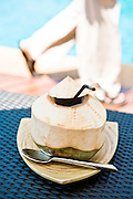 Cool, fresh coconut by the pool.