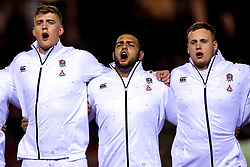 Alex Coles, Kai Owen and Jack Bartlett of England U20 - Mandatory by-line: Robbie Stephenson/JMP - 22/02/2019 - RUGBY - Zip World Stadium - Colwyn Bay, Wales - Wales U20 v England U20 - Under-20 Six Nations