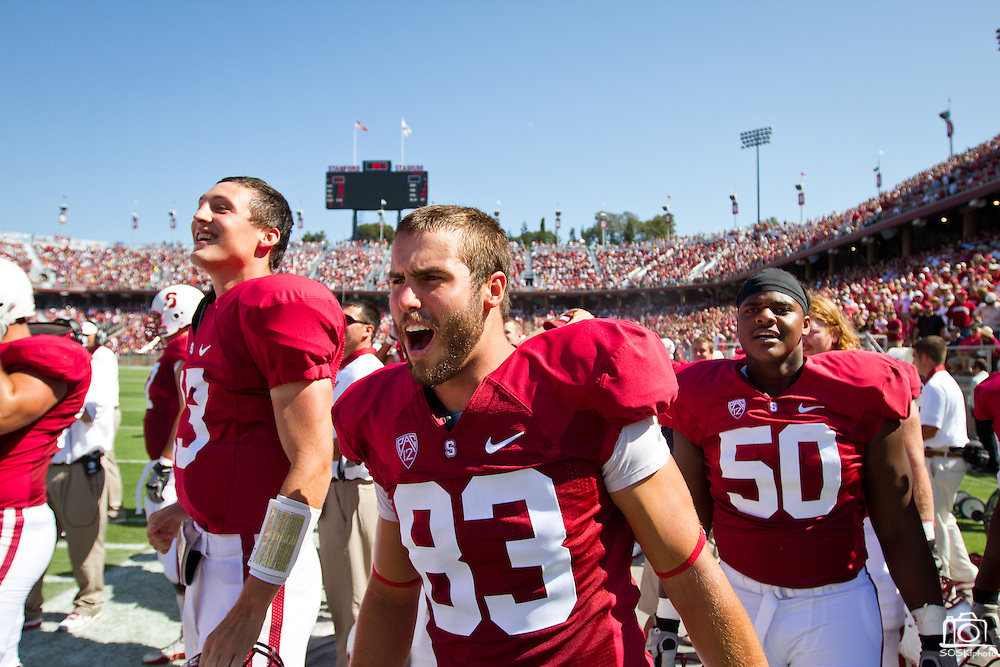 Davis Dudchock (83) and Cole Underwood (50) celebrate a fumble return against San Jose State in Palo Alto, Calif., Sept. 3, 2011.  Stanford University (7) beat San Jose State 57-3.  (Spartan Daily/Stan Olszewski)