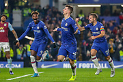 Goal Chelsea midfielder Mason Mount (19) score 2-1 during the Premier League match between Chelsea and Aston Villa at Stamford Bridge, London, England on 4 December 2019.