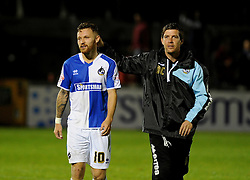 Congratulations for Matty Taylor from Bristol Rovers Manager Darrell Clarke - Mandatory byline: Neil Brookman/JMP - 07966 386802 - 06/10/2015 - FOOTBALL - Memorial Stadium - Bristol, England - Bristol Rovers v Wycombe Wanderers - JPT Trophy