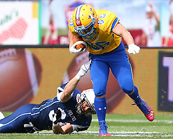 01.06.2014, NV Arena, St. Poelten, AUT, American Football Europameisterschaft 2014, Gruppe A, Finnland (FIN) vs Schweden (SWE), im Bild Velipekka Jaakonsaari, (Team Finland, RB, #34) und  Oliver Romer  Holmlund, (Team Denmark, WR, #86) // during the American Football European Championship 2014 group A game between Finland and Sweden at the NV Arena, St. Poelten, Austria on 2014/06/01. EXPA Pictures © 2014, PhotoCredit: EXPA/ Thomas Haumer