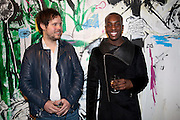 NICHOLAS POL;TALAY RILEY, Private view of the exhibition ' Mother of Pouacrus' by Nicholas Pol. Presented by Vladimir Restoin Roitfeld. The Old Dairy, Wakefield St.  London. 14 October 2010. <br /> <br /> -DO NOT ARCHIVE-© Copyright Photograph by Dafydd Jones. 248 Clapham Rd. London SW9 0PZ. Tel 0207 820 0771. www.dafjones.com.