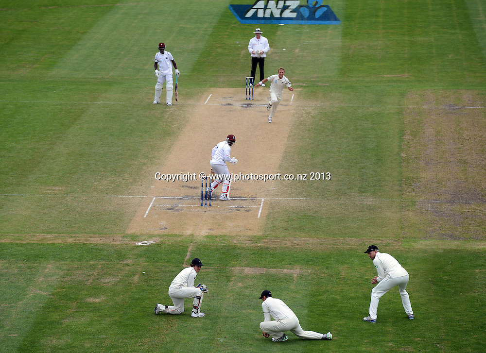 Neil Wagner celebrates the wicket of Tino Best as Taylor takes the catch at seond slip on Day 5 of the 1st cricket test match of the ANZ Test Series. New Zealand Black Caps v West Indies at University Oval in Dunedin. Saturday 7 December 2013. Photo: Andrew Cornaga/www.Photosport.co.nz
