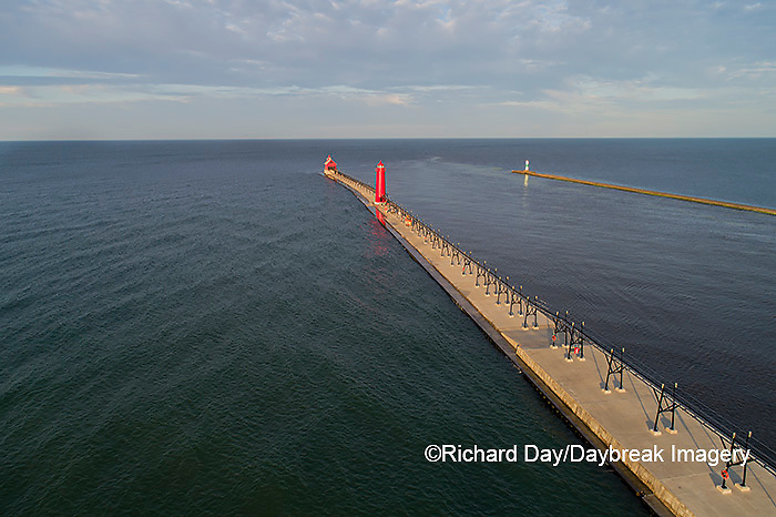 64795-03315 Aerial view of Grand Haven Lighthouse on Lake Michigan Grand Haven, MI