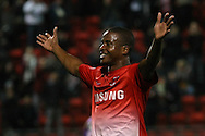 Picture by David Horn/Focus Images Ltd +44 7545 970036<br /> 17/09/2013<br /> Kevin Lisbie of Leyton Orient celebrates scoring  the opening goal  during the Sky Bet League 1 match at the Matchroom Stadium, London.