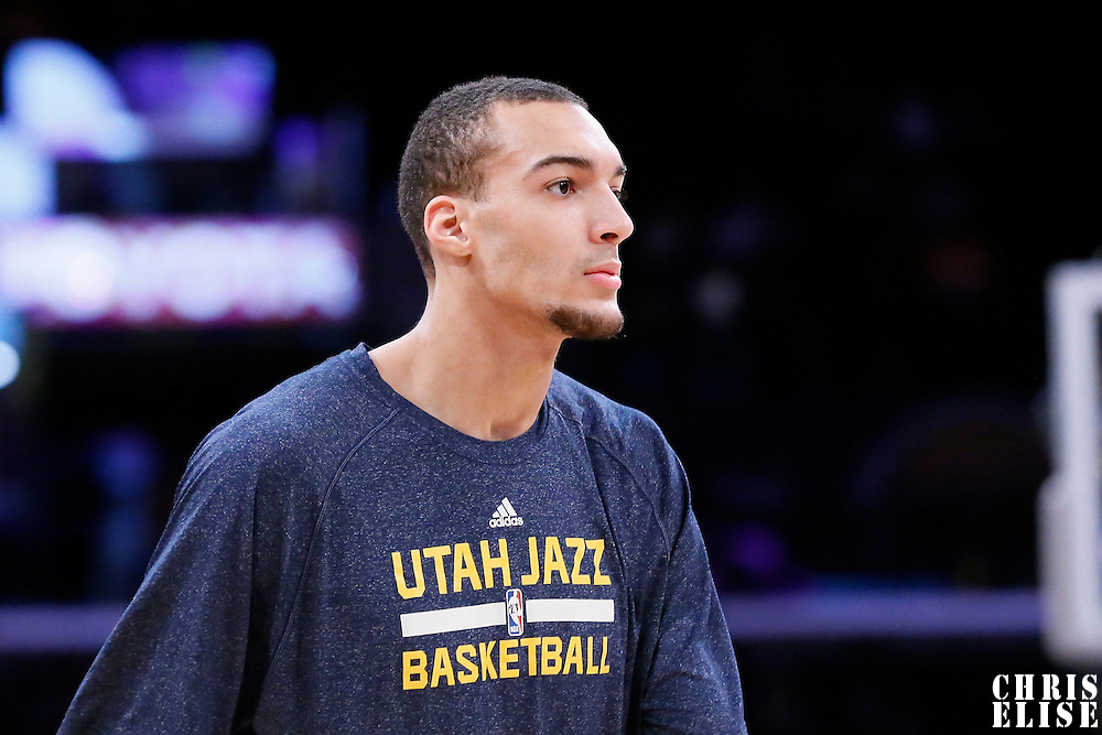 19 March 2015:  Utah Jazz center Rudy Gobert (27) warms up prior to the Utah Jazz 80-73 victory over the Los Angeles Lakers, at the Staples Center, Los Angeles, California, USA.
