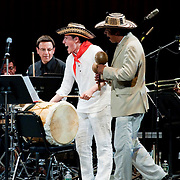 May 14, 2011 - Manhattan, NY : .Pablo Mayor (in hat at right, accompanied by Arturo O'Farrill (NOT PICTURED) and the Afro-Latin Jazz Orchestra, performs 'Mercado en Domingo' during Symphony Space's Wall to Wall Sonidos concert on Saturday night. .CREDIT: Karsten Moran for The New York Times