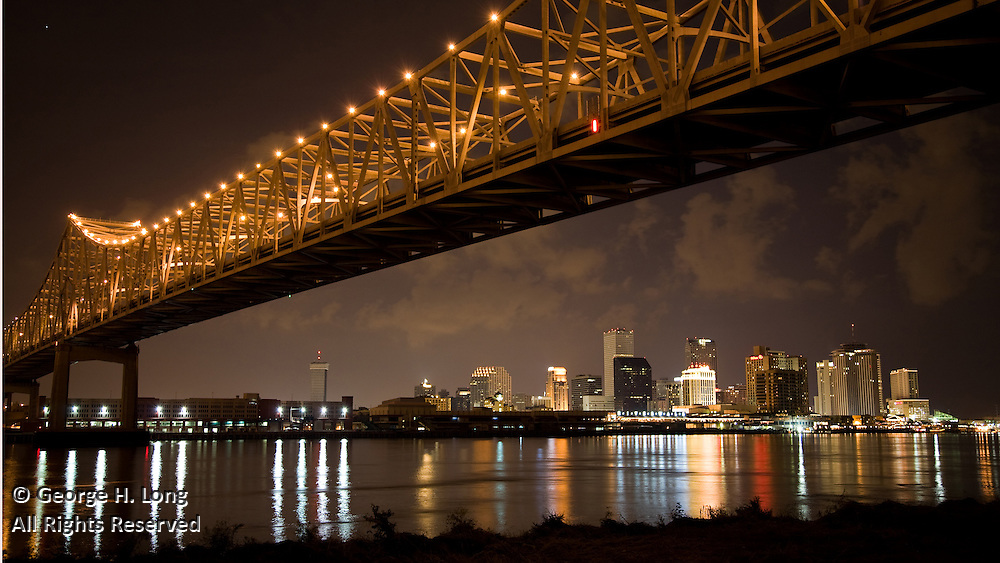 Greater New Orleans Mississippi River Bridge and downtown New Orleans skyline view from Westbank