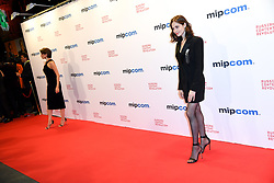Anna Chipovskaya, Yulia Snigir poses as arriving for the opening ceremony of the MIPCOM in Cannes - Marche international des contenus audiovisuels du 16-19 Octobre 2017, Palais des Festivals, Cannes, France.<br />