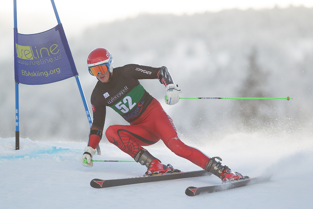 Danny Fowler of Harvard University, skis during the first run of the men's giant slalom at the Colby College Carnival at Sugarloaf Mountain on January 17, 2014 in Carabassett Valley, ME. (Dustin Satloff/EISA)