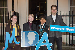 Tara Whelan, Ryan Wiggins and Junior Frood (winners of the Diana Award, left to right) and singer James McVey posing for photos outside 11 Downing Street to celebrate seventeen years of the Diana Award. This award, set up in memory of Princess Diana, today has the support of both her sons the Duke of Cambridge and Prince Harry. Photo date: Wednesday, October 19, 2016. Photo credit should read: Richard Gray/EMPICS Entertainment