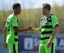 Forest Green Rovers's Jonathan Parkin celebrates his goal with Forest Green Rovers's Kurtis Guthrie. - Photo mandatory by-line: Nizaam Jones - Mobile: 07966 386802 - 11/04/2015 - SPORT - Football - Nailsworth - The New Lawn - Forest Green Rovers v Macclesfield Town - Vanarama Football Conference