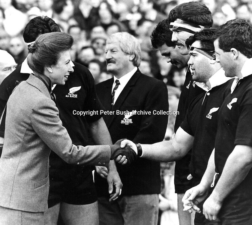 Princess Anne meets the All Blacks, 1989.<br /> Photosport/Peter Bush