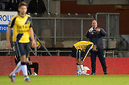 Onderwerp/Subject: NAC Breda - Eredivisie<br /> Reklame:  <br /> Club/Team/Country: <br /> Seizoen/Season: 2012/2013<br /> FOTO/PHOTO: Anouar HADOUIR (L) of NAC Breda leaving the pitch due to injury with Physiotherapist Frank RAGAS (R) of NAC Breda. (Photo by PICS UNITED)<br /> <br /> Trefwoorden/Keywords: <br /> #03 #04 #06 $94 ±1342772543138 ±1342772543138<br /> Photo- & Copyrights © PICS UNITED <br /> P.O. Box 7164 - 5605 BE  EINDHOVEN (THE NETHERLANDS) <br /> Phone +31 (0)40 296 28 00 <br /> Fax +31 (0) 40 248 47 43 <br /> http://www.pics-united.com <br /> e-mail : sales@pics-united.com (If you would like to raise any issues regarding any aspects of products / service of PICS UNITED) or <br /> e-mail : sales@pics-united.com   <br /> <br /> ATTENTIE: <br /> Publicatie ook bij aanbieding door derden is slechts toegestaan na verkregen toestemming van Pics United. <br /> VOLLEDIGE NAAMSVERMELDING IS VERPLICHT! (© PICS UNITED/Naam Fotograaf, zie veld 4 van de bestandsinfo 'credits') <br /> ATTENTION:  <br /> © Pics United. Reproduction/publication of this photo by any parties is only permitted after authorisation is sought and obtained from  PICS UNITED- THE NETHERLANDS