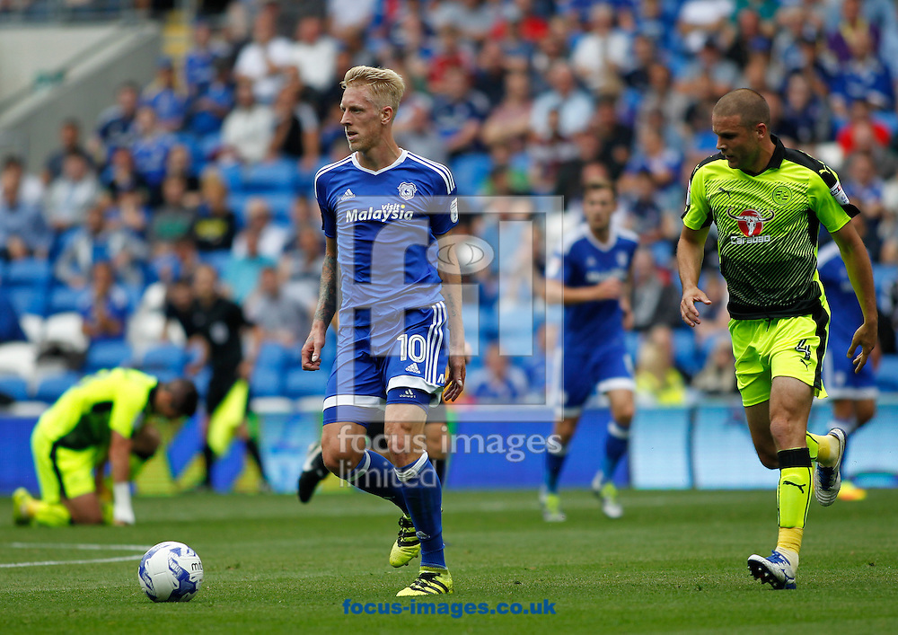Lex Immers of Cardiff City and Joey Van Den Berg of Reading during the Sky Bet Championship match at the Cardiff City Stadium, Cardiff<br /> Picture by Mike Griffiths/Focus Images Ltd +44 7766 223933<br /> 27/08/2016