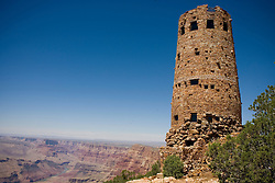The Desert View Watchtower overlooks the southern rim of the Grand Canyon, Grand Canyon National Park, Arizona, June 7, 2007.