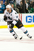 DALLAS, TX - OCTOBER 17:  Joe Thornton #19 of the San Jose Sharks skates down ice against the Dallas Stars on October 17, 2013 at the American Airlines Center in Dallas, Texas.  (Photo by Cooper Neill/Getty Images) *** Local Caption *** Joe Thornton
